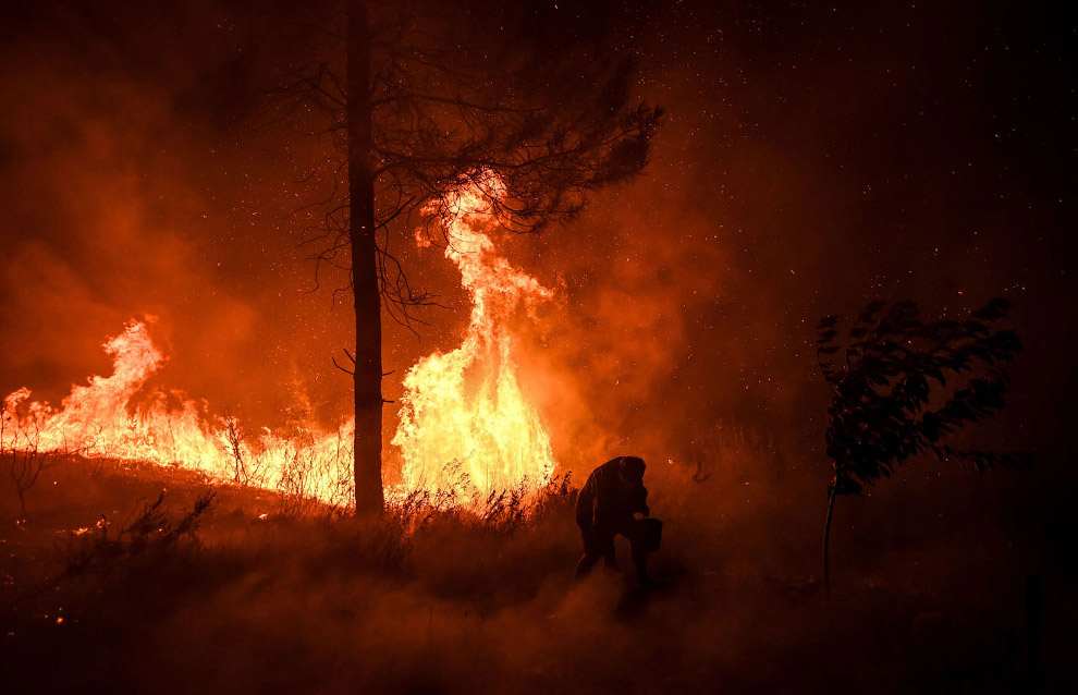 Пожар подбирается к дому местного жителя, он пытает остановить