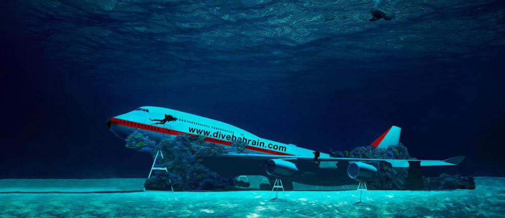 «Затонувший» Боинг 747 привлекает дайверов в Бахрейн