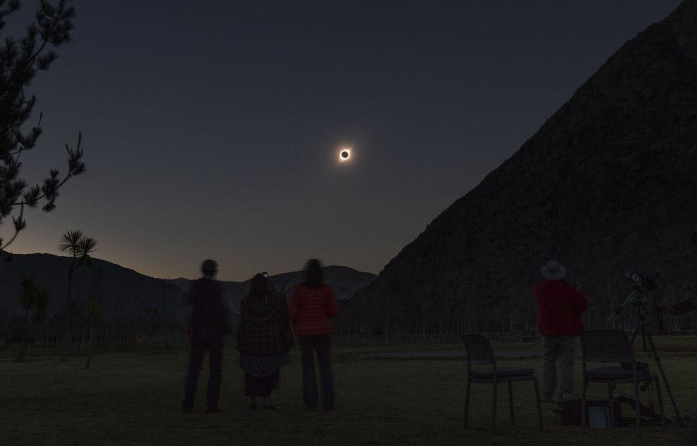 Полное солнечное затмение в Эль-Молле, Чили