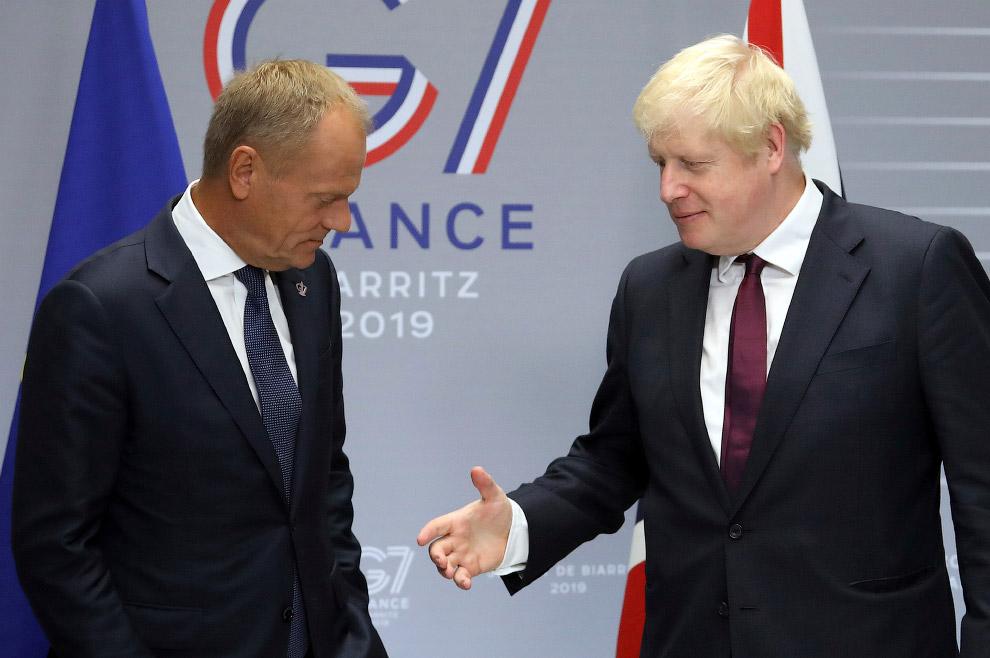 Премьер-министр Великобритании Борис Джонсон и председатель Европейского совета Дональд Туск