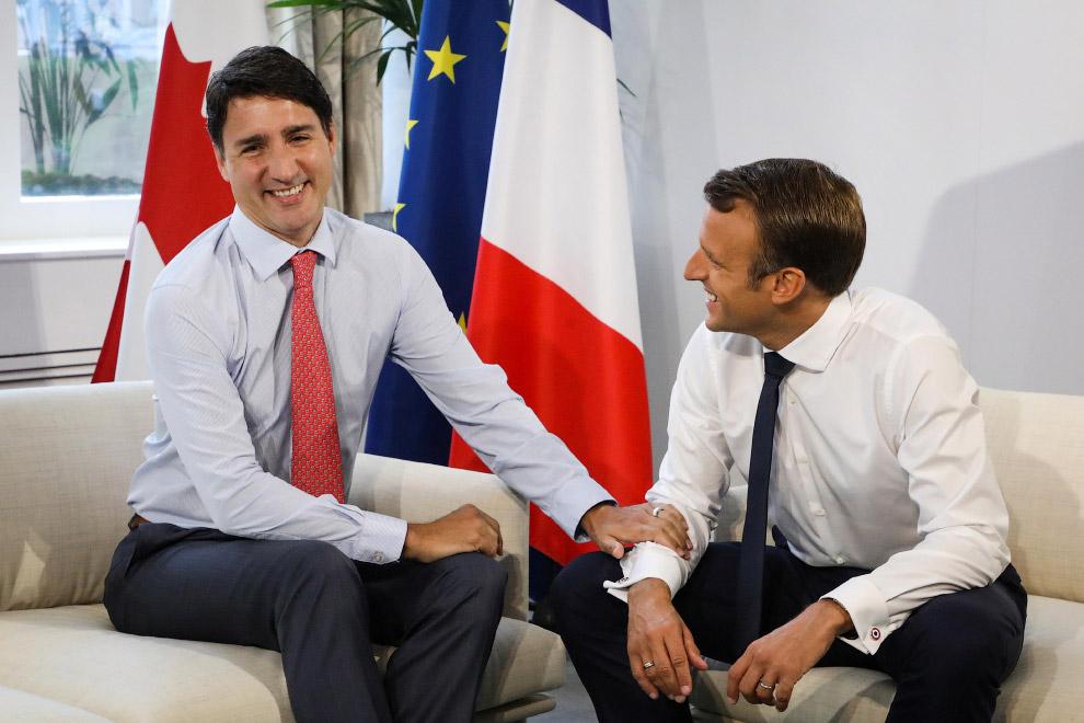 Премьер-министр Канады Джастин Трюдо и президент Франции Эммануэль Макрон