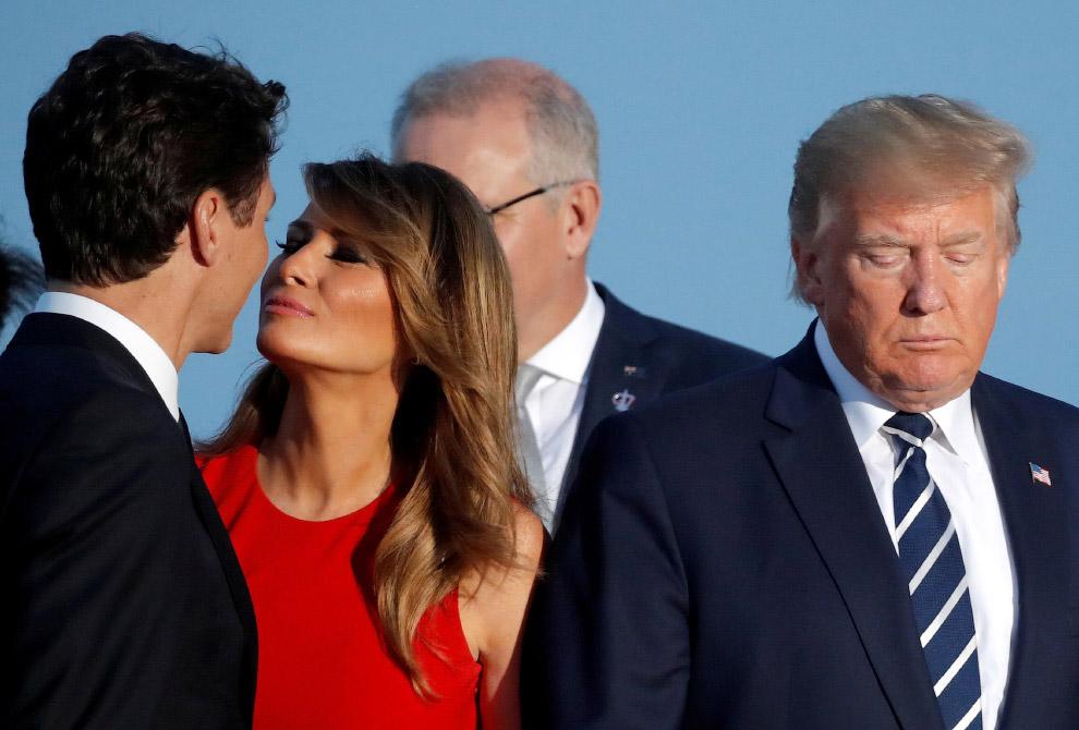 Жена Трампа с молодым премьер-министром Канады Джастином Трюдо и грустный Трамп