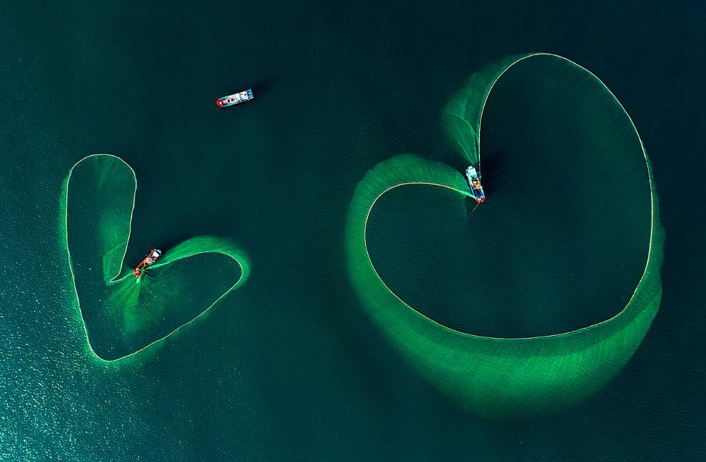 Рыболовные сети во Вьетнаме в виде сердец