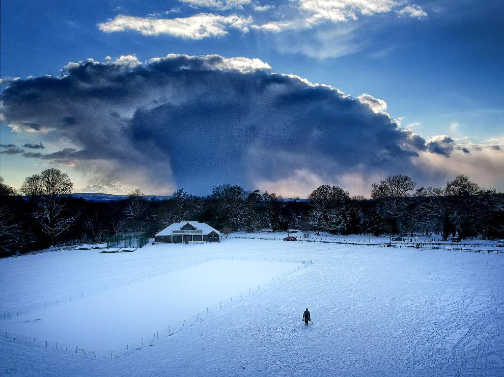 Снежная буря, снятая с дрона