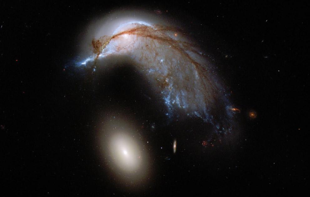 Вверху — эллиптическая галактика NGC 2936 в созвездии Гидра