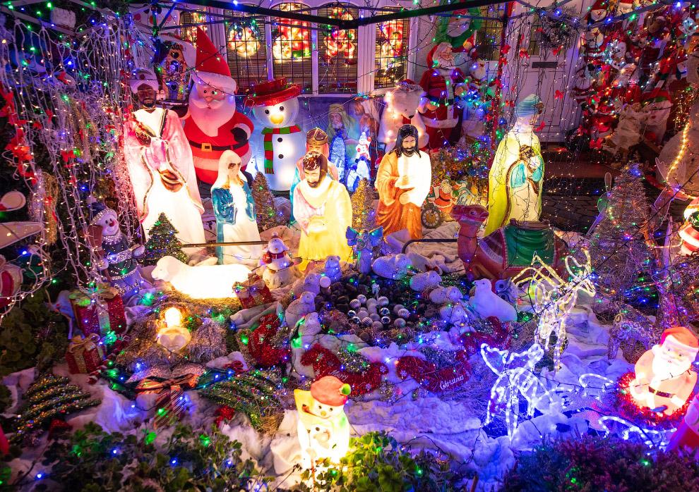 Рождественские огни на юго-востоке Лондона, Англия