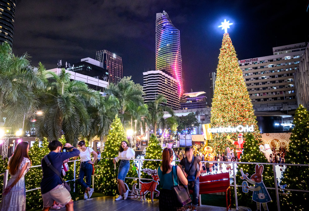 Новогодняя иллюминация в центре Бангкоке