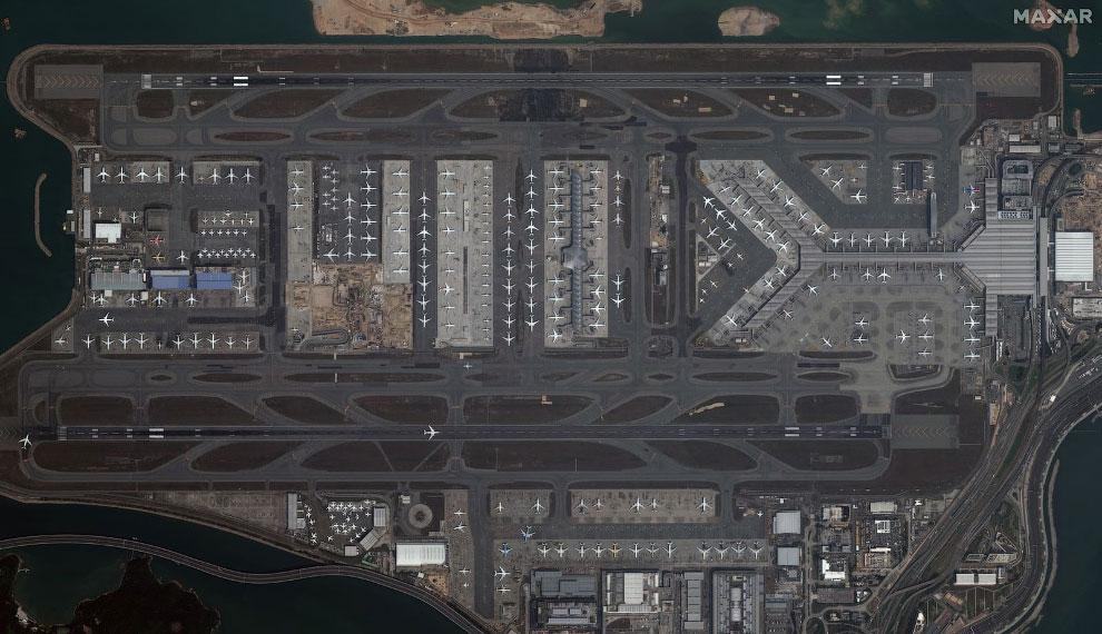 Спутниковый снимок в международном аэропорту Гонконга