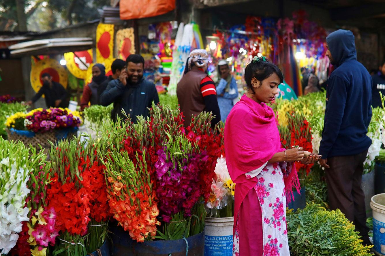 Цветочный рынок в Дакке, Бангладеш
