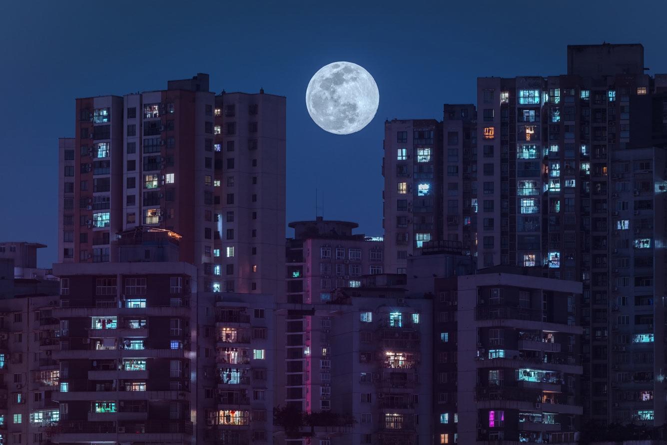 Суперлуна в Чунцине, Китай