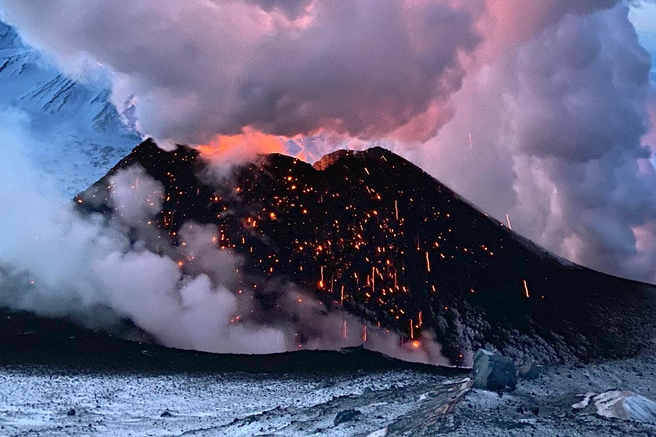 Извержение Ключевского вулкана на Камчатке