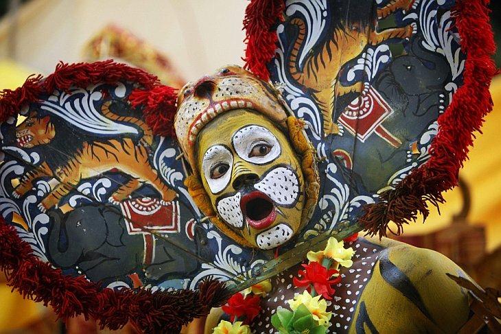 Народный артист одетый в костюм тигра